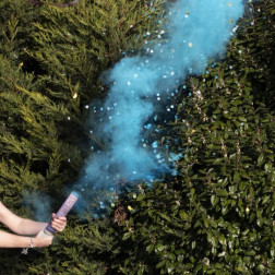 Blue Gender Reveal Smoke Cannon With Confetti 30cm