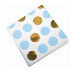 Servietten Pattern Blue Gold Polka Dots 33cm