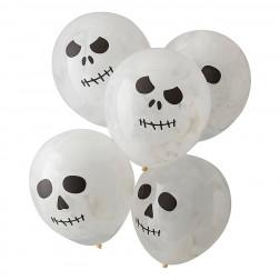Luftballons Skeleton Face paint 5 Stück