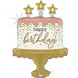 Folienballon Cake Birthday glitter 84cm