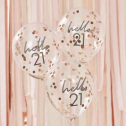 Luftballons Hello 21 Birthday 5 Stück