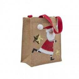 Geschenktasche Jute Weihnachtsmann 20 x 24cm