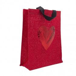 Geschenktasche Jute Herz 26 x 32cm