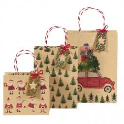 Geschenktaschen Kraftpapier Santa Bäume Auto 3er Set