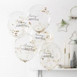 Luftballons Merry Christmas mit Konfetti 5 Stück