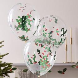 Luftballons Christmas Holly And Berries 5 Stück