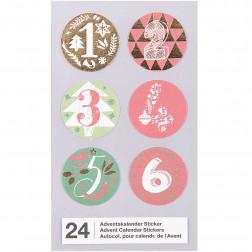 Adventskalender Sticker rot grün gold 1 bis 24