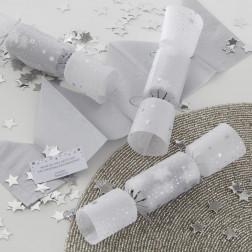 Christmas Crackers Silber Konfetti 6 Stück