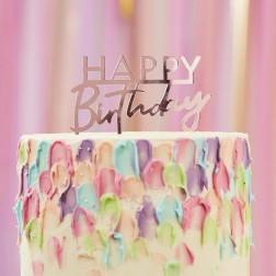 Cake Topper Happy Birthday Acrylic Rosegold 12cm