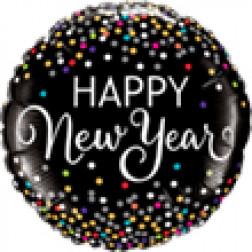 Folienballon Happy New Year Confetti bunt rund 46cm