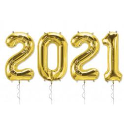 Folienballons Zahlen 2021 gold 86cm