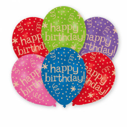 Luftballons Happy Bday bright 6 Stück