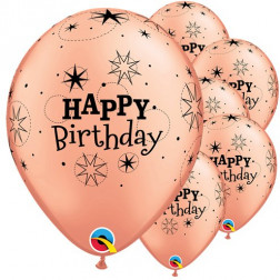 Luftballons Happy Birthday Rose Gold 6 Stück