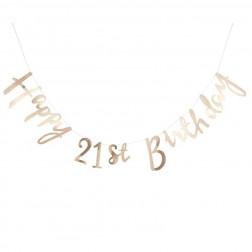 Girlande Happy 21st Birthday gold