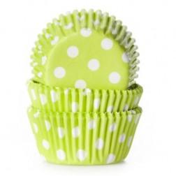 Mini Baking cups Polkadot Lime Green 60 Stück