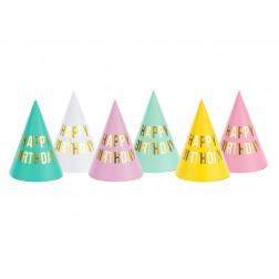 Party Hats Happy Birthday mix 6 Stück