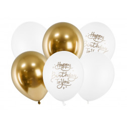 Luftballons Happy Birthday gold white mix 6 Stück
