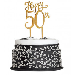 Cake Topper 50th gold