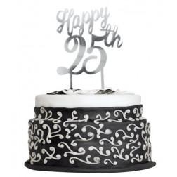 Cake Topper 25th silber
