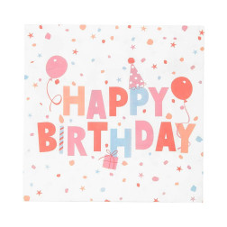 Servietten Rose Eco Happy Birthday 20 Stück