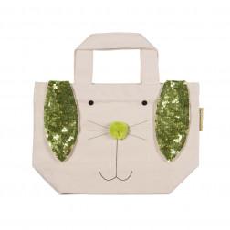 Tasche Hase Baumwolle mit Paillettenbesatz grün