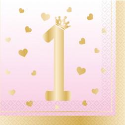 Servietten 1st Birthday pink ombre 16 Stück