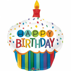 Folienballon Rainbow Birthday Cupcake 91cm