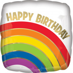 Folienballon Birthday Gold Rainbow 43cm
