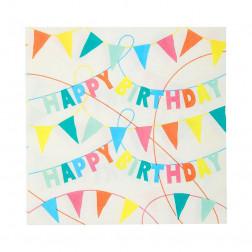 Servietten Rainbow Eco Eco Happy Birthday 20 Stück