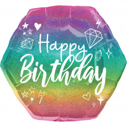 Folienballon Sparkle Birthday 58cm