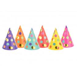 Party hats Dots mix 6 Stück