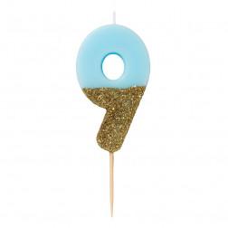 Kerze We Heart Bday Gold Blau 9