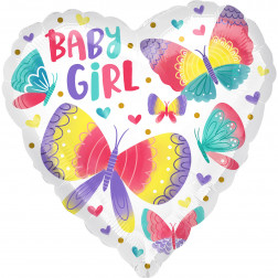 Folienballon Baby Girl Butterflies 43cm