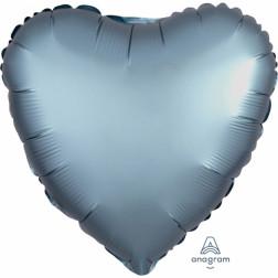 Folienballon Herz Satin Luxe Steel Blue 43cm