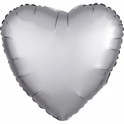 Folienballon Herz Satin Luxe Platinum 43cm