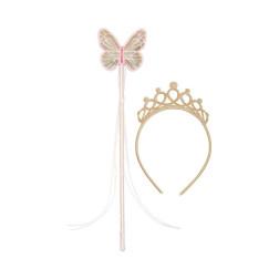 Krone mit Zauberstab Truly Fairy gold 2er Set