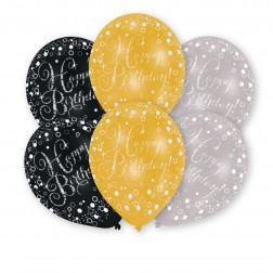 Luftballon Birthday gold silber schwarz 6 Stück