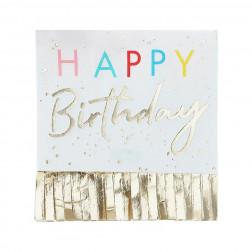 Servietten Happy Birthday Fringed Gold 16 Stück