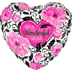 Folienballlon Herz Wonderful Mum 46cm