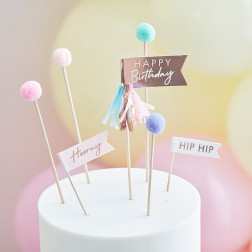 Cake Toppers Pom Pom Happy Birthday