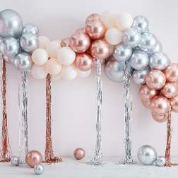 Mixed Metallics Balloon Arch with Streamers