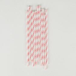 Strohhalme stripes light pink 25 Stück
