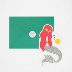 Einladungskarten Meerjungfrau 8 Stück