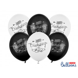 Luftballons Happy Birthday black white 6 Stück