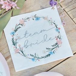 Servietten Boho Floral Team Bride Party 16 Stück