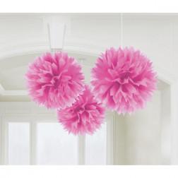 Pom Poms 40cm Bright Pink 3 Stück