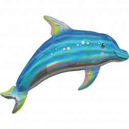 Folienballon Iridescent Blue Dolphin 73cm