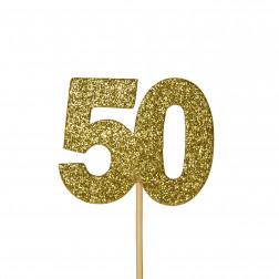 Cupcake Topper 50 Glitter gold 12 Stück