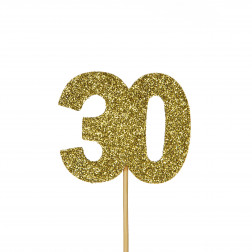 Cupcake Topper 30 Glitter gold 12 Stück