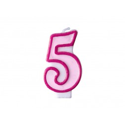 Kerze 5 pink